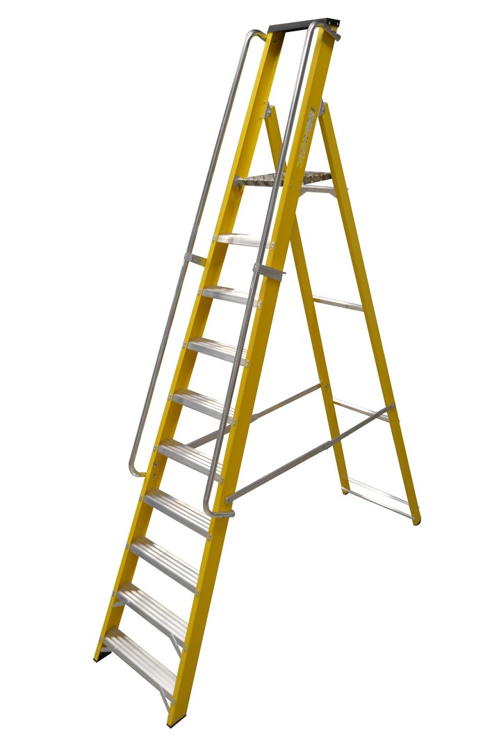 GRP STEP LADDER WITH HANDRAILS 10 TREAD