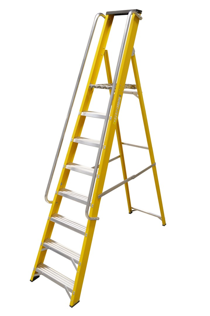 GRP STEP LADDER WITH HANDRAILS 8 TREAD
