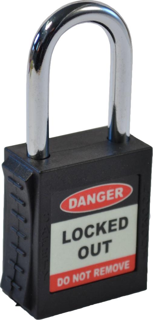 Safety Lockout Padlock Single Key - Black