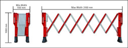 Expander Expandable Barrier - Red/White 3mtr