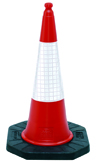 Dominator 2-Part Traffic Cone With Reflective Sleeve - 1mtr