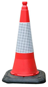 Dominator 2-Part Traffic Cone With Reflective Sleeve - 750mm