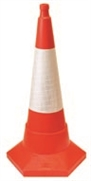 One-Piece Sand-Weighted Traffic Cone With Reflective Sleeve - 750mm