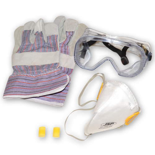 PPE Pack 3: Safety Goggles, Ear Plugs, PU Gloves