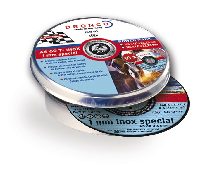 Dronco INOX Special Metal Cutting Disc Flat - 115 x 1 x 22.23mm - Pack Of 10